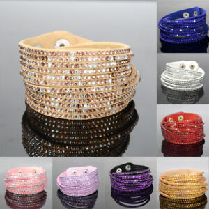 Multilayer-Leather-Wrap-Wristband-Cuff-Punk-Crystal-Rhinestone-Bracelet-Bangle