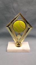 SOFTBALL trophy  yellow ball diamond white marble base