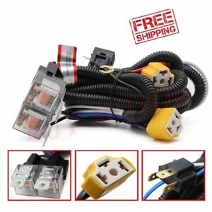 Stupendous 2X H4 Headlight Headlamp Light Bulb Relay Wiring Harness Socket Plug Wiring Cloud Usnesfoxcilixyz