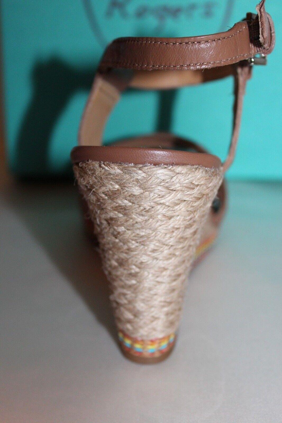NEW  NIB NIB   JACK ROGERS Cognac Braun Leder ABBEY Jute Wedge Sandale Sz 10 188 e801a7