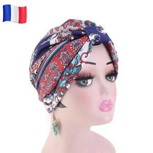 Bonnet turban satin bleu rouge chimio perte de cheveux foulard hijab Alopécie fr