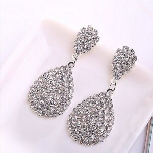Full-Crystal-Teardrop-Drop-Dangle-Earrings-Women-Elegant-Banquet-Jewelry-Gift