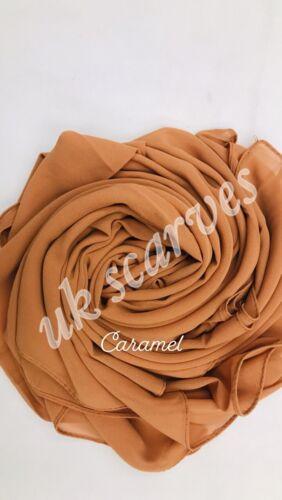 Haute Qualité Uni Mousseline hijab écharpe Châle Wrap Soft Georgette Dubai élégant