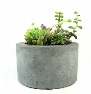 Round-Concrete-Planter-Flower-Pot-Handmade-Home-amp-Garden-Decor-Gray