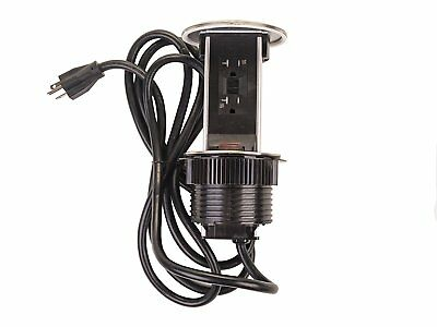 Lew Electric PUR20-S Round Countertop Pop Up 20 Amp Receptacles Stainless Steel