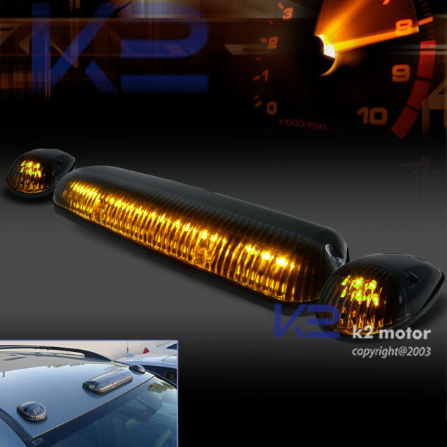 3 Pieces Amber LED Cab Roof Top Clear Marker Running Lights Truck / SUV / 4X4
