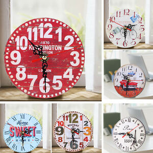 Vintage-Rustic-Wooden-Wall-Clock-Antique-Shabby-Chic-Retro-Kitchen-Home