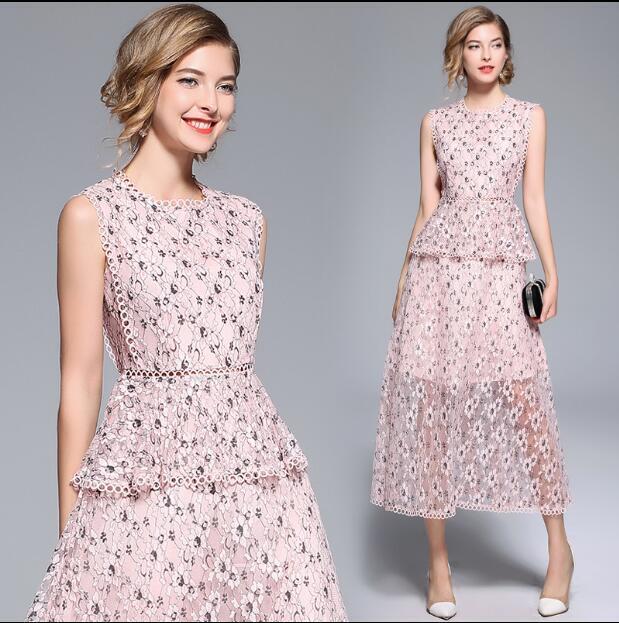 Occident Women's Sleeveless Round Collar Slim A-Line Skirt Hollow Lace Dress New