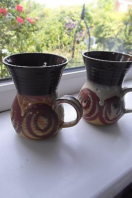 Alvingham Pottery Coffee Mugs x 2 Hand Thrown & Hand Painted