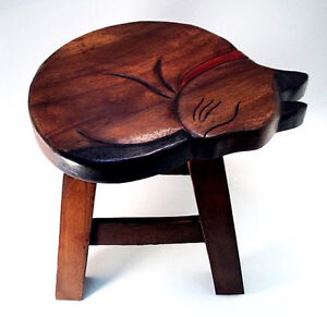 FOOTSTOOLS - SLEEPING CAT WOODEN FOOTSTOOL - SLEEPING CAT FOOT STOOL