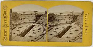 Robert, Stéréo, Italie, anfiteatro di Pozzuoli Vintage stereo card,  Tirage al