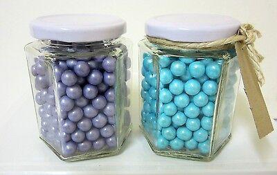 96x 250ml Small Glass Jars Hexagonal White Lid Wedding Favours / Lolly Jars.