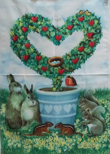 """#1036 Colorfast Heart Topiary Standard House Flag by Toland 24/"""" x 36/"""""""