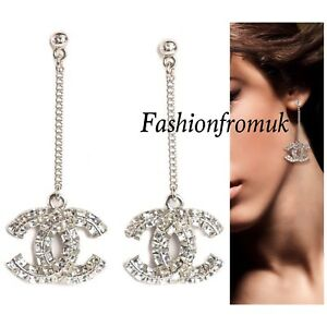 Image Is Loading Chanel Clic Silver Large Crystal Cc Long Earrings