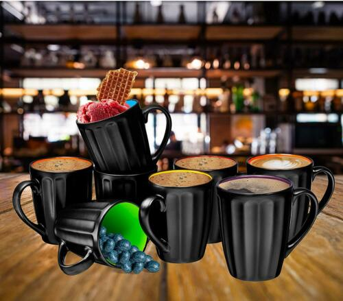 Ceramic Coffee Cups Mugs Set of 6 Large-sized 16 Ounce Grooved Mugs Matte Black