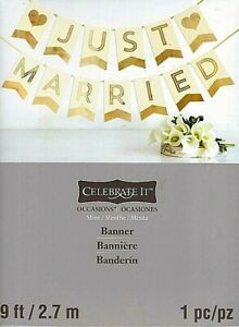 Banner-Just-Married-by-Celebrate-It-9-039-Wedding-Bridal-Party-Supplies-Decoration