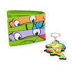 G3739 Masks Bi-fold Wallet & Raph Keychain Green Teenage Mutant Ninja Turtles