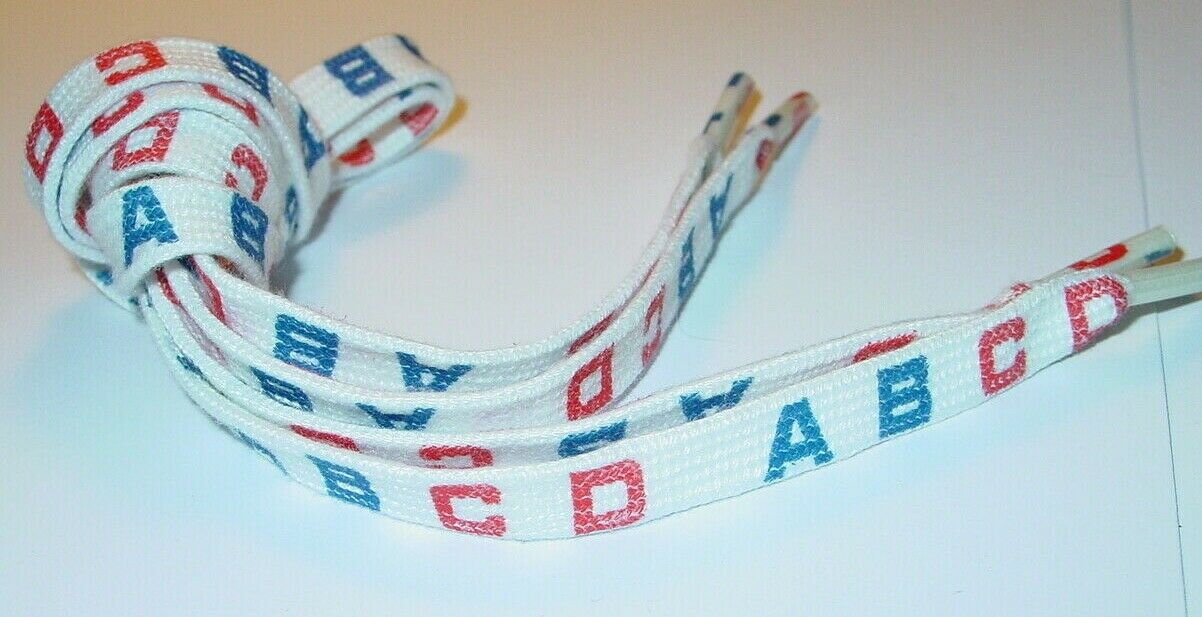 ABCD A B C D 1980's VINTAGE SHOE LACES 25 INCH NEW OLD STOCK 1 PAIR