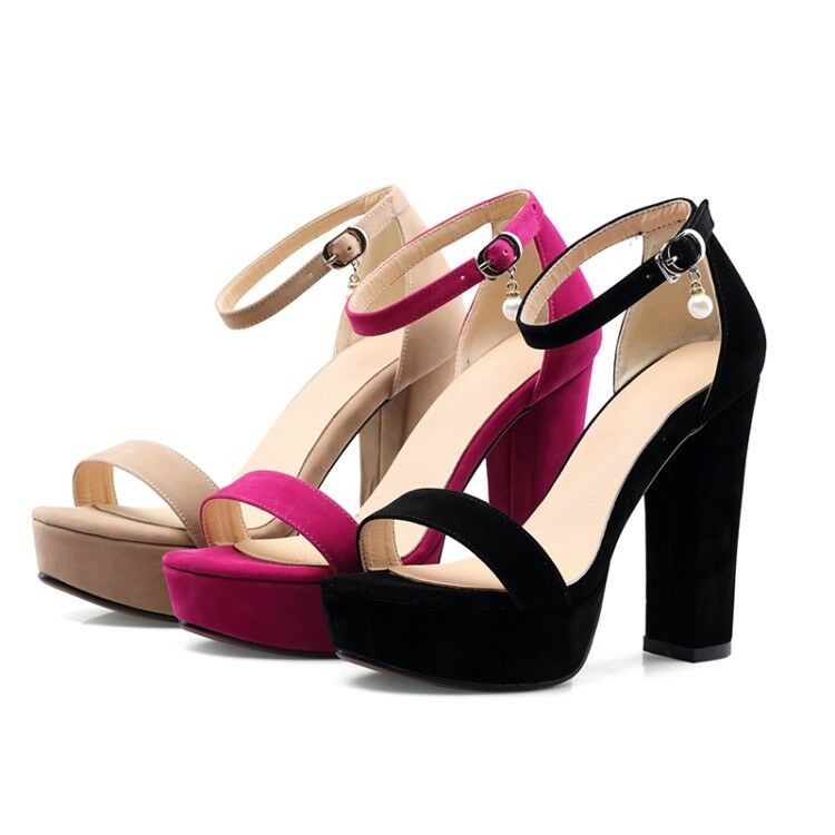 Womens Platform Open Toe Strappy Sandals Block High Heel Evening Party New shoes