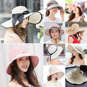 9d9e68541d90a8 Womens Sun Hat Wide Brim Cap Beach Summer Holiday Visor Outdoor UV ...