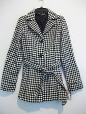 Women's Black/White Poly/Wool Lined Belted JOU JOU Trench-Coat Size M NWT $89