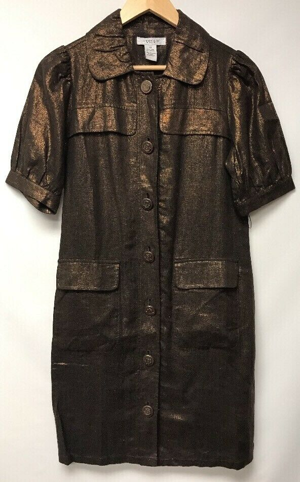 Vertigo Womens Size XS Dress Brown Linen Viscose Pockets