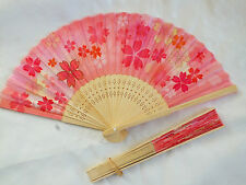Giapponese ROSA GIALLO FIORE HAND fan danza cinesi Fancy Donna GIRL PARTY E1