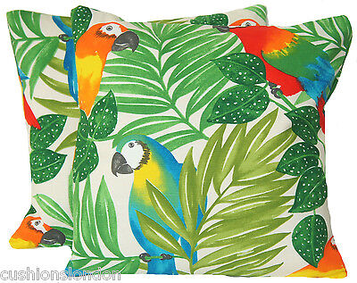 Green Cushion Cover Parrots Decorative Pillow Case Fabric Amazon Rainforest