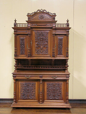 Large Antique French Renaissance Walnut Buffet Sideboard Cabinet