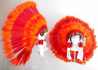 "Genuine Native American Navajo Indian Headdress 36/"" RED SUN Red /& bright Orange"