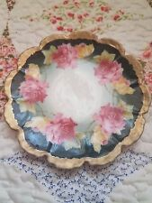 """VTG Silesia Germany A La Roses Plate 6"""" Saucer Scalloped Black & Gold"""