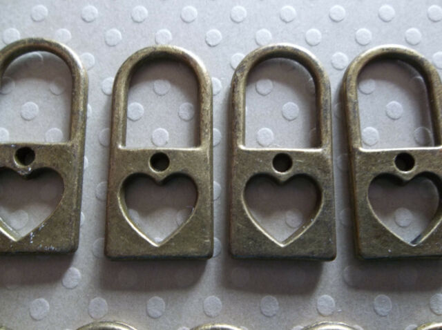 Vintage Style Heart Lock Antique Brass Pendants or Charms - Qty 9