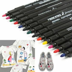 8 Color Permanent Fabric Paint Marker Pen For Textile Clothes Shoes DIY Graffiti