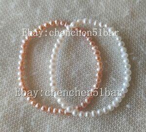schoene-paar-3-4mm-weiss-rosa-Suesswasserperle-Elastisches-Armband-7-5-Zoll
