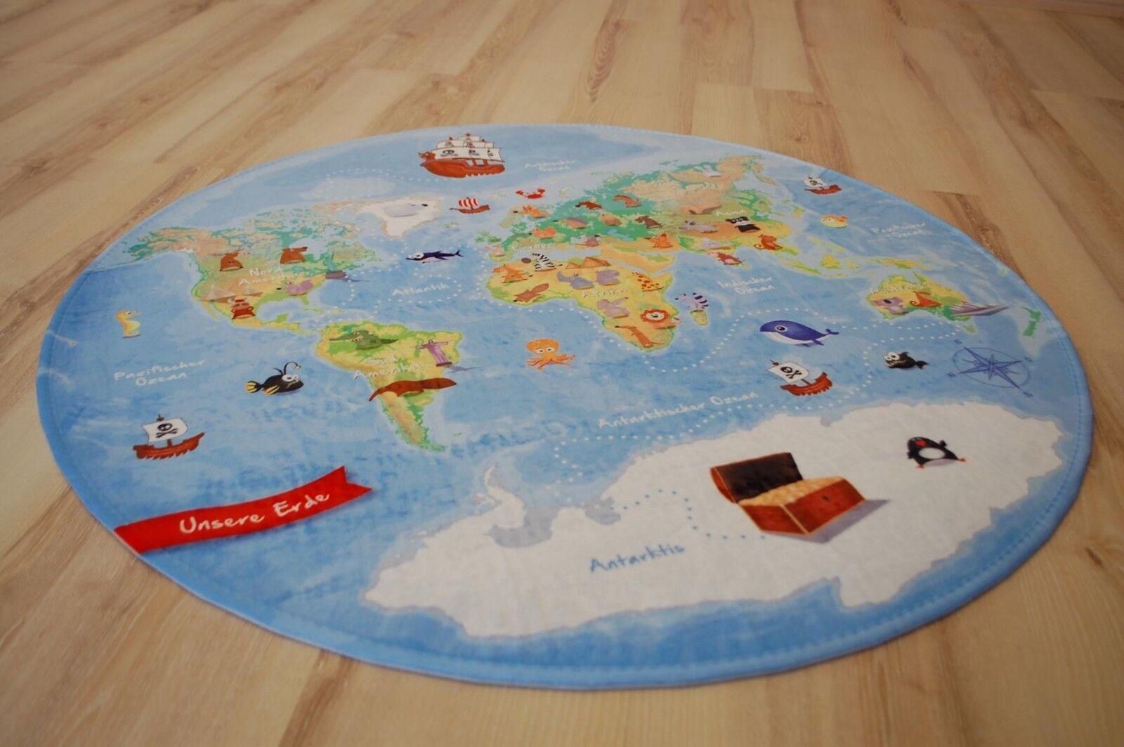 Enfants Tapis de Jeu Carte Du Monde 130 cm Rond Lk-413 Monde Notre Terre Neuf