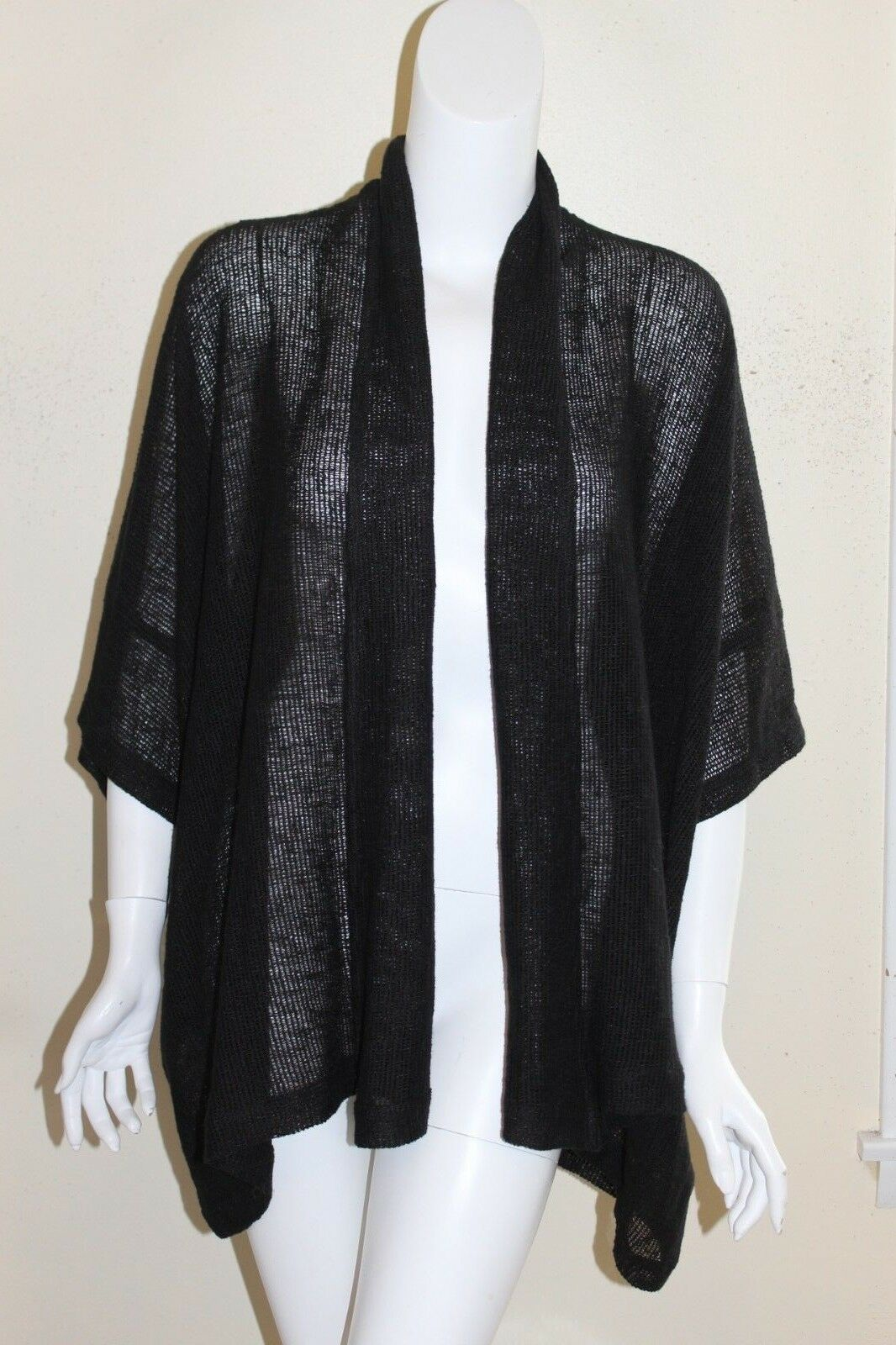 NEW Eskandar Sz 0 Jet schwarz Cotton LInen Mesh Wide S S Sweater Shawl Jacket