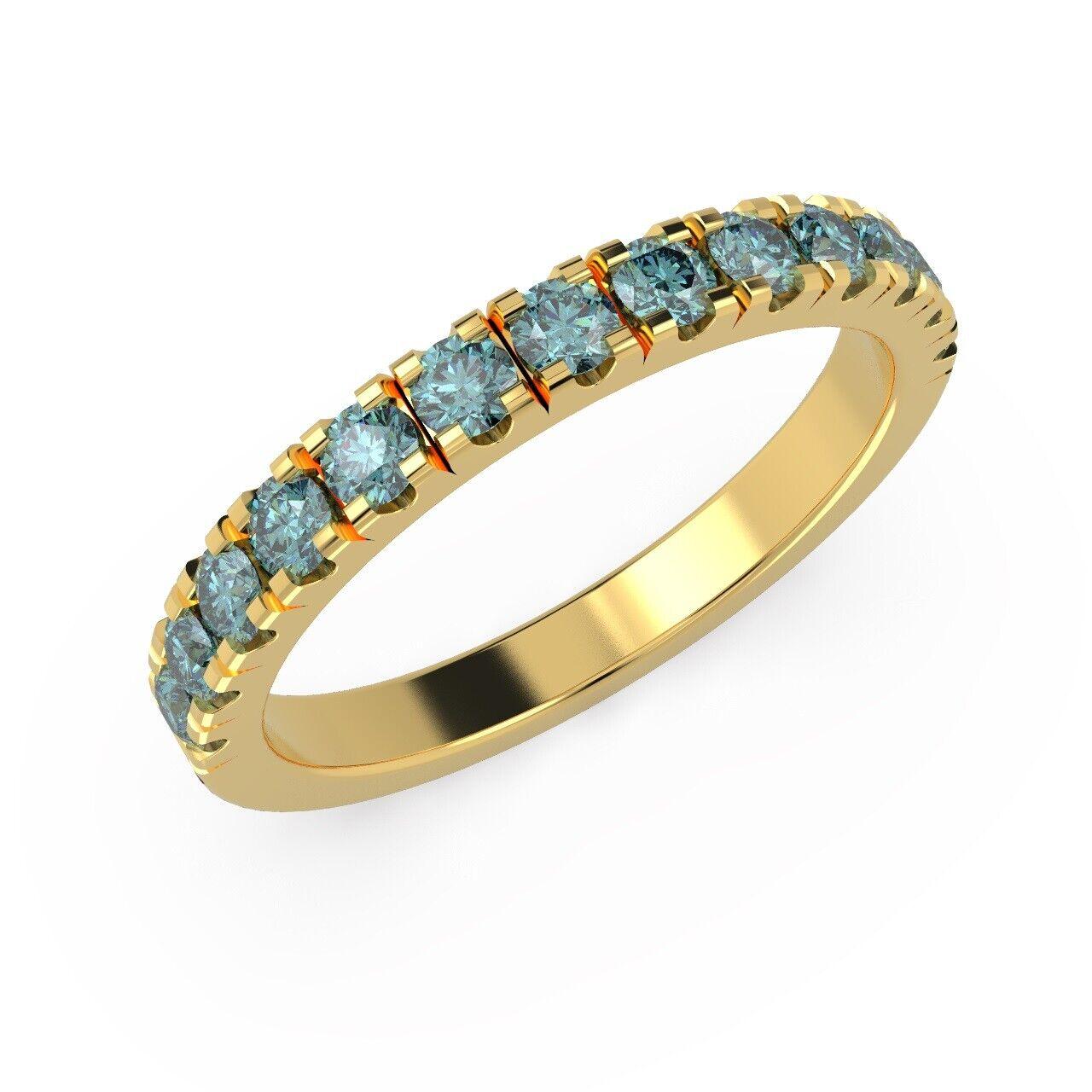 064e6654e5a31 Set Pave Micro Diamond bluee 0.50 Half Carat gold Yellow 18k Ring ...