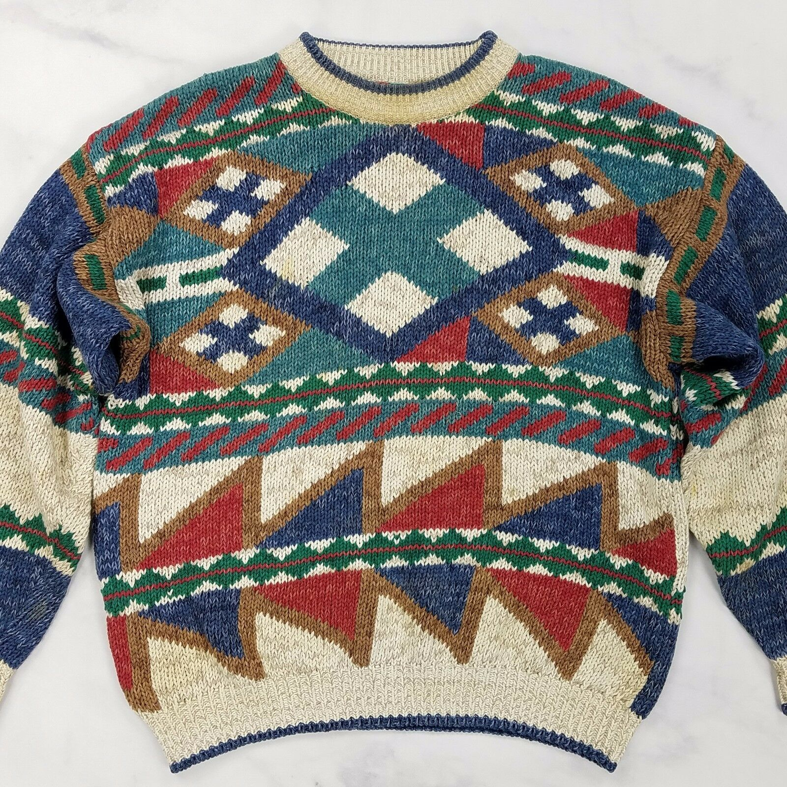 Vtg Multi-color Geometric Southwestern Aztec Heavy Loose Knit Sweater Mens Large