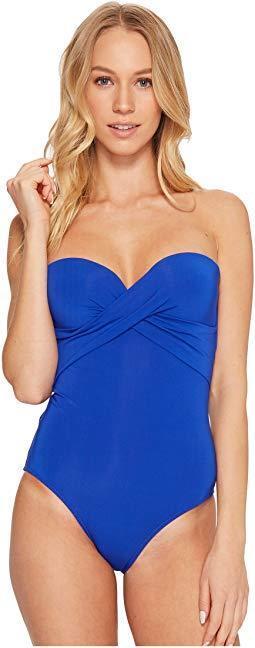 JETS by Jessika Allen Jetset Wrap-Front Bandeau One-Piece Swimsuit, bluee Sz 4