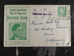 1937-Limerick-Ireland-First-Day-Cover-FDC-To-Venice-Usa-Constitution-Stamps
