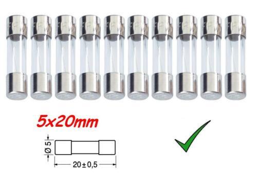 Fusibili in Vetro 250Vac Confezione 10pz Fusibile Rapido 500mA 0,5A 5x20mm