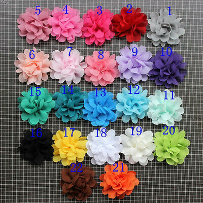 Mixed lots 21color 105pcs peony organza Chiffon corsage flower Sewing Appliques
