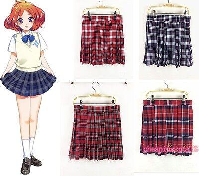 Girls Women Mini Plaid Pleated Skirt Japan High School Style Cosplay Costume