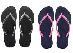 6d18f30fe666 Image is loading Havaianas-Slim-Logo-Silver-Blue-Pink-Top-Women-