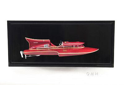 "Arno Ferrari Hydroplane Half Hull Model 18.5"" Wooden Racing Power Speed Boat New"