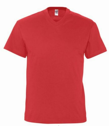Mens Plain Medium Summer Weight Vee V-Neck Cotton Tee T-Shirt S-3XL Regular Fit