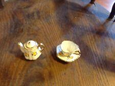 Mini China Tea cup saucer, and Tea Pot  Pottery , Toy, Ceramic, crafts.