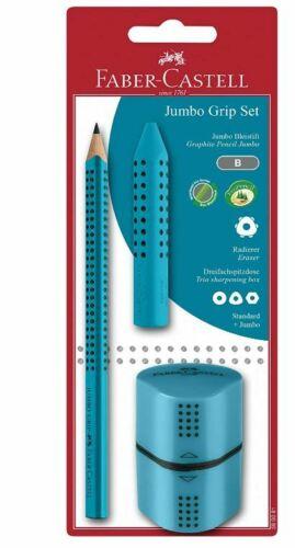 FABER-CASTELL Bleistift Jumbo GRIP Set türkis Bleistift Radierer und Spitzer