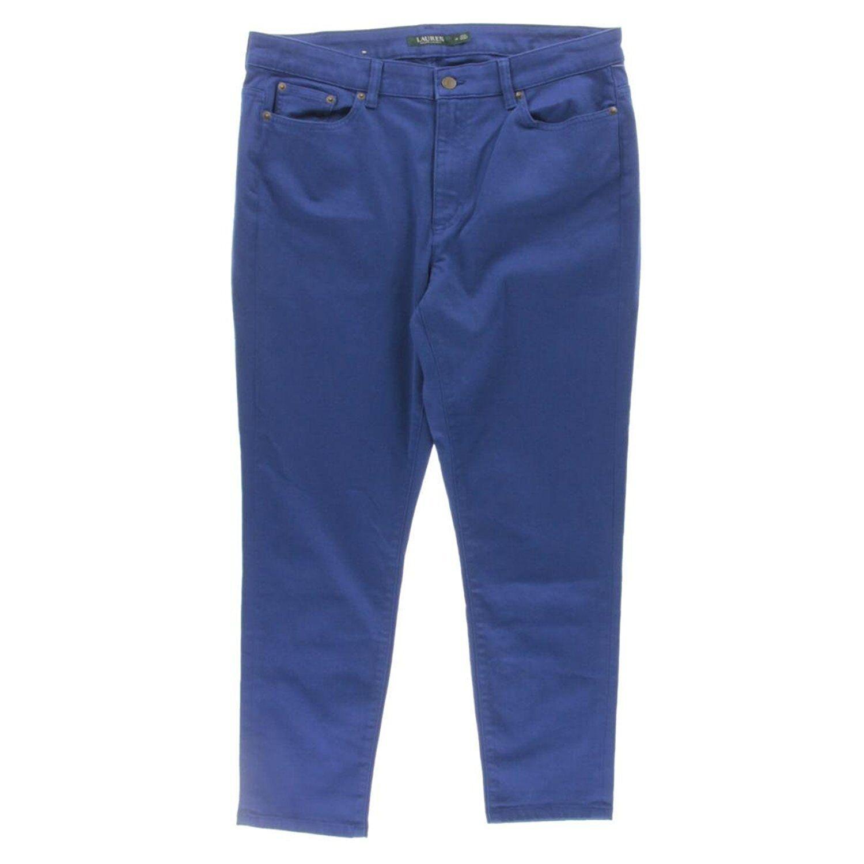 6693-2 Ralph Lauren Womens Denim Super Stretch Skinny Crop Jeans bluee 14  89