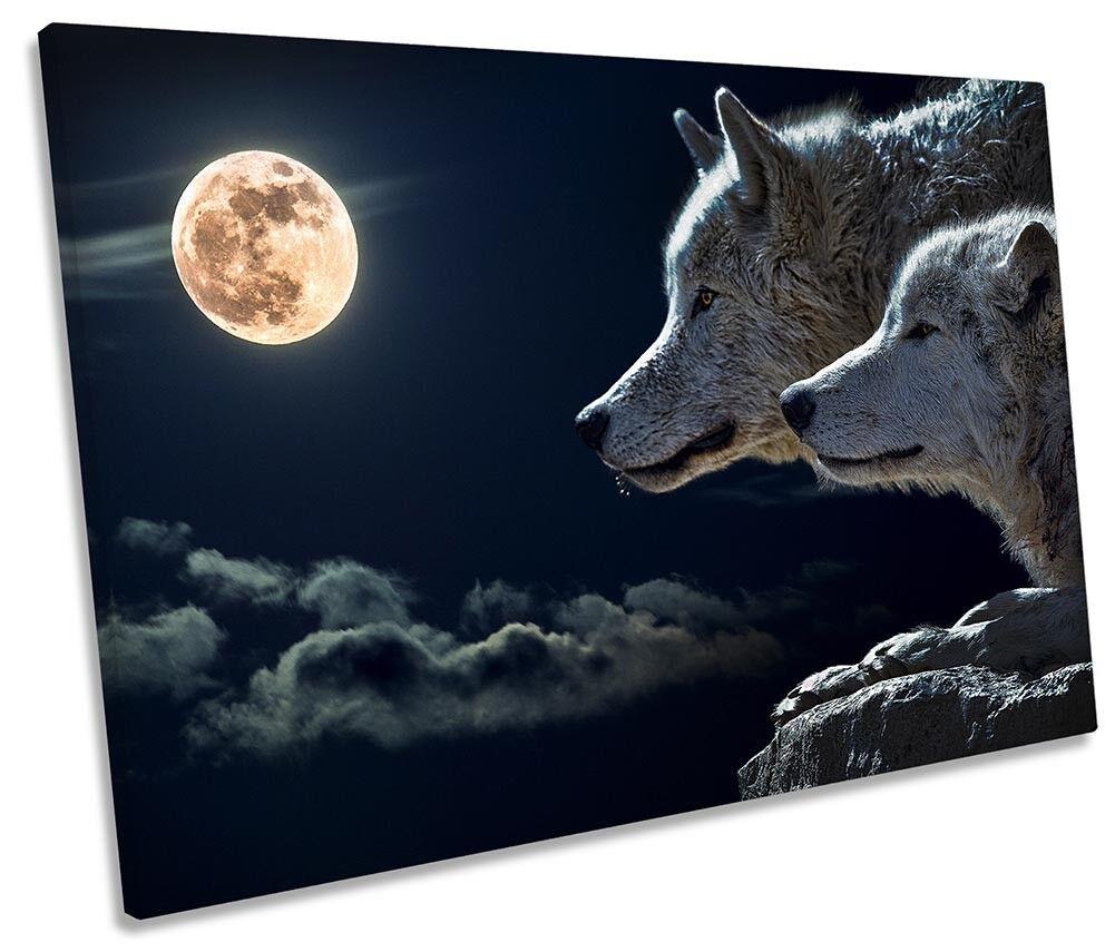 WOLF MOON incorniciato Tela Singola Stampa Wall Art
